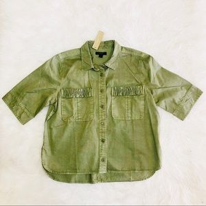 J crew olive green button up